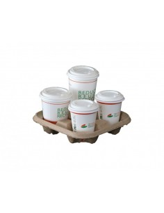Vassoi compostabili portabicchieri 4 scomparti