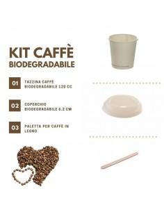 Kit per caffè da asporto biodegradabile e compostabile