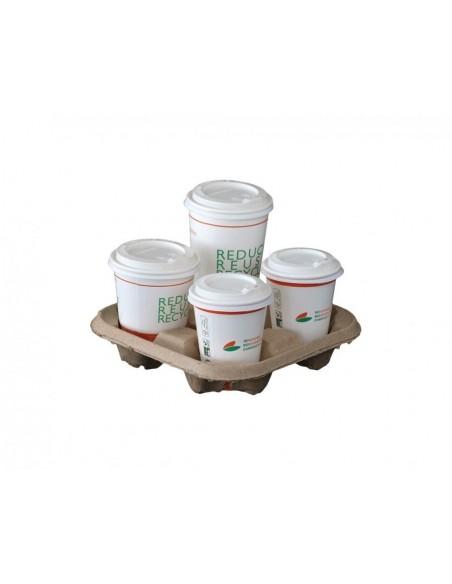 Vassoi porta bicchieri e coperchi biodegradabili