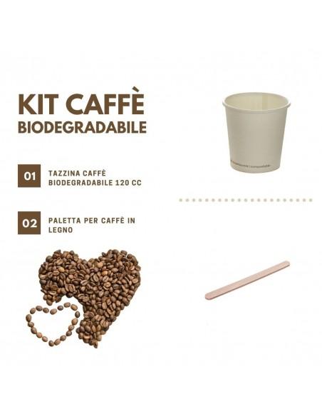 Kit per caffè da asporto biodegradabile